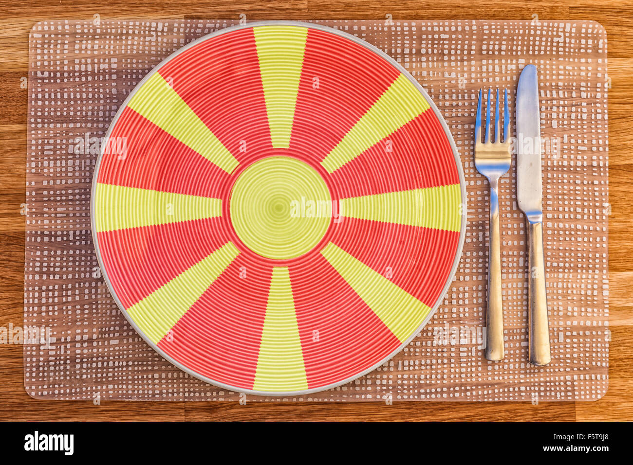 Dinner plate with the flag of Macedonia on it for your international food and drink concepts. - Stock Image