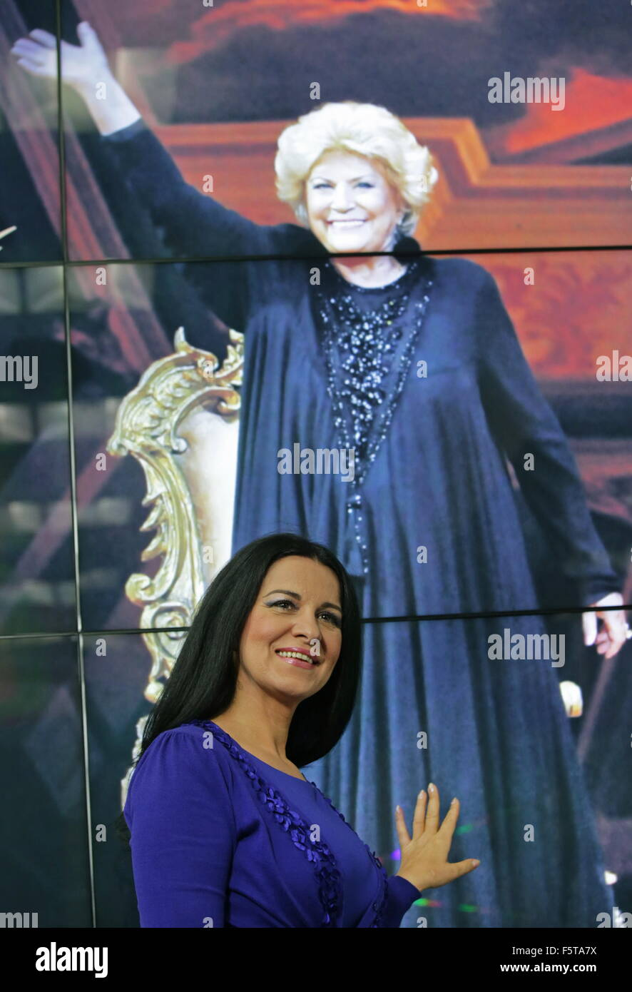 MOSCOW, RUSSIA. NOVEMBER 9, 2015. Romanian soprano Angela Gheorghiu attends a press conference on the Elena Obraztsova Stock Photo