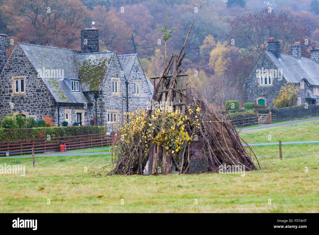 Autumn colours and bonfire ready for bonfire night at Elan village in Elan Valley, Mid Wales - Stock Image