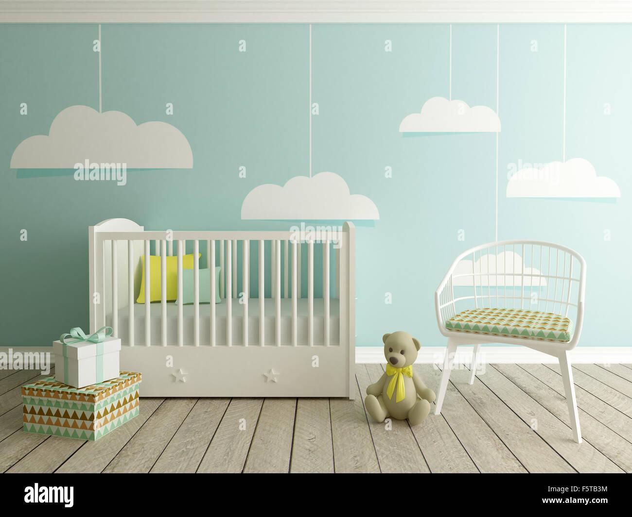Exterior: Children Room Interior, Baby Room, 3d Render Stock Photo