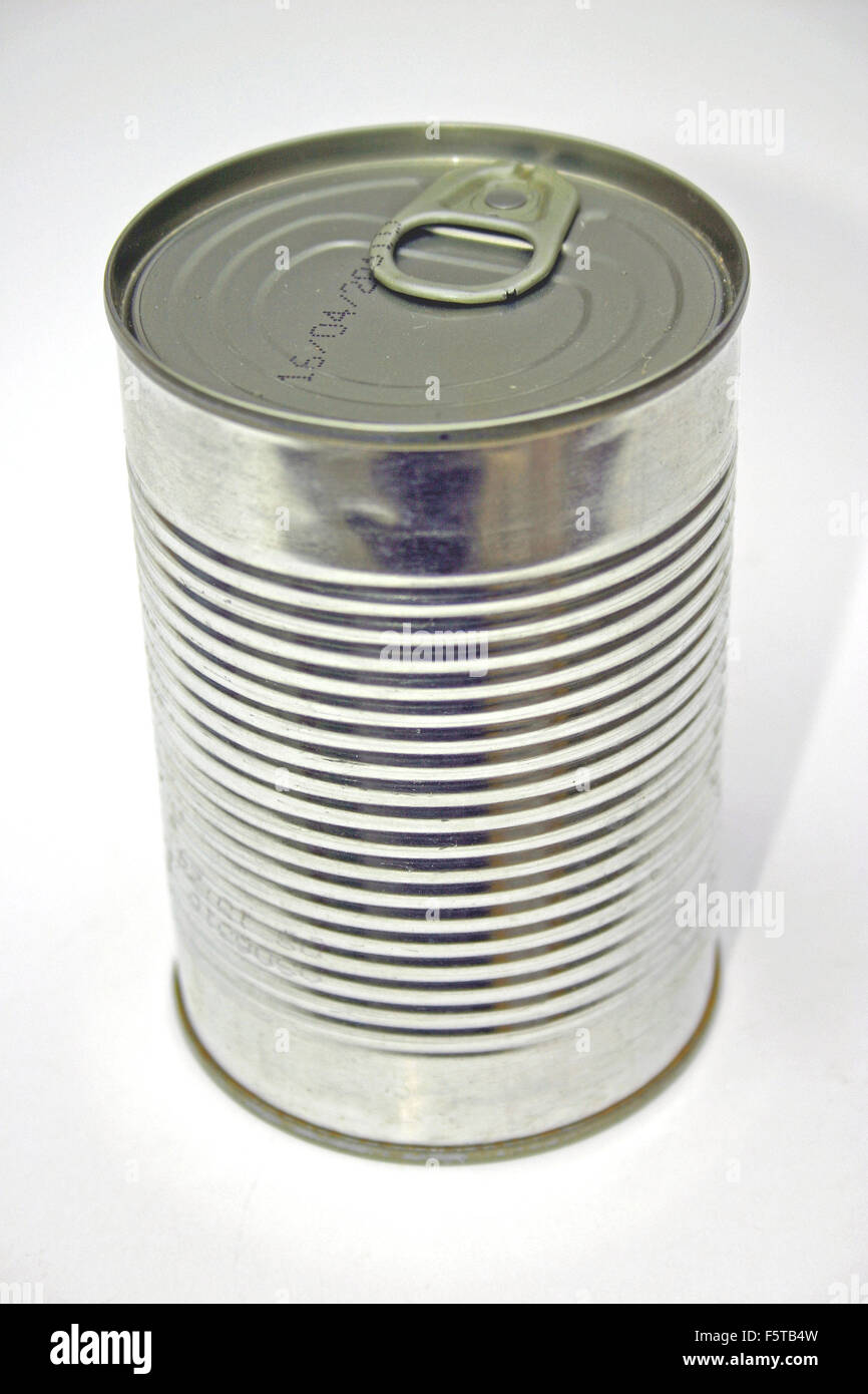 An unopened tin can, bean can, soup can or metal can.. - Stock Image