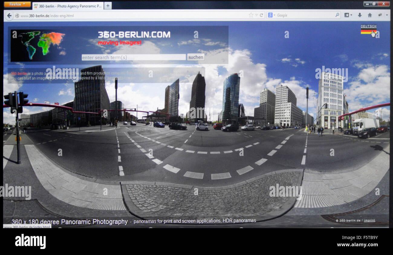 Website der Berliner Fotoagentur '360-berlin.de', Berlin. - Stock Image