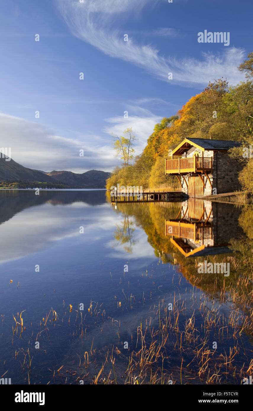 Boathouse on Ullswater near Pooley Bridge Lake District national park Cumbria UK Stock Photo