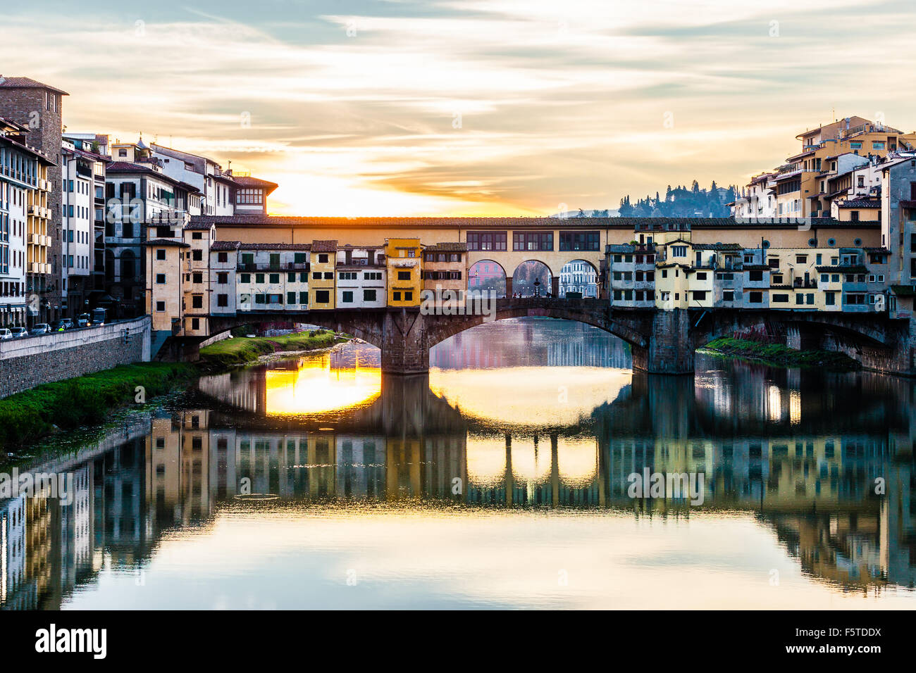 Ponte Vecchio is one of the most famous bridge in the world, visited by million of tourists every year, Florence, Stock Photo
