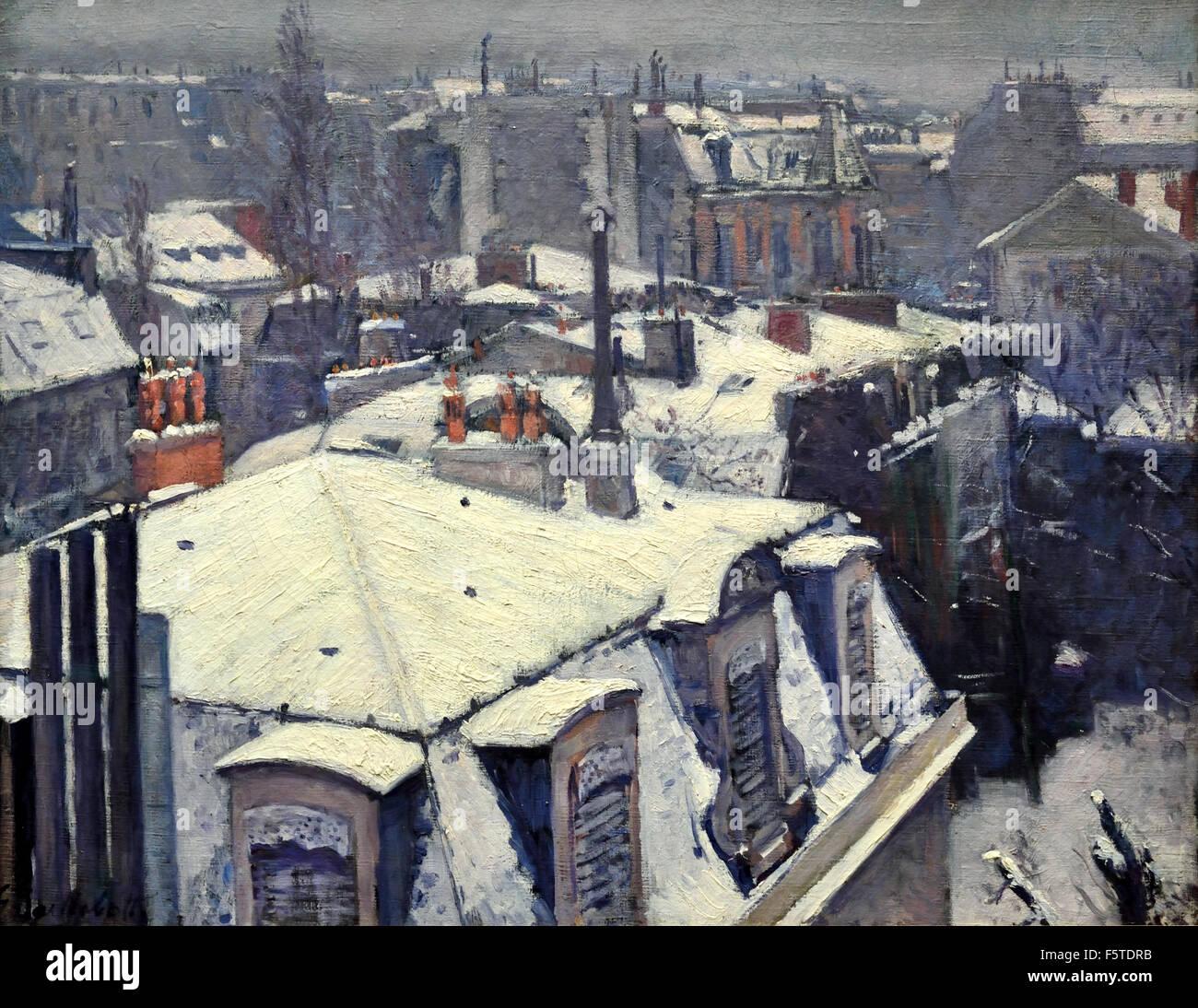 Vue de toits (Effet de neige) Rooftops (Snow Effect) 1878 Gustave Caillebotte 1848 - 1894 France French - Stock Image