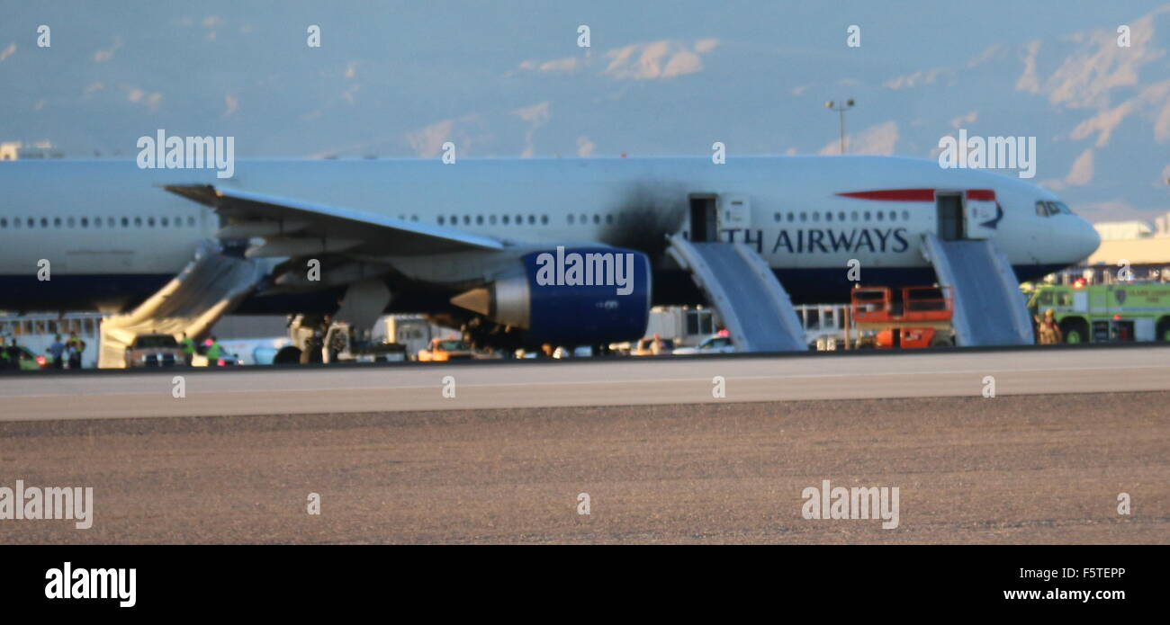 British Airways flight #2276 sits on runway of Las Vegas McCarran  International Airport after catching fire. Luckily nobody was hurt.