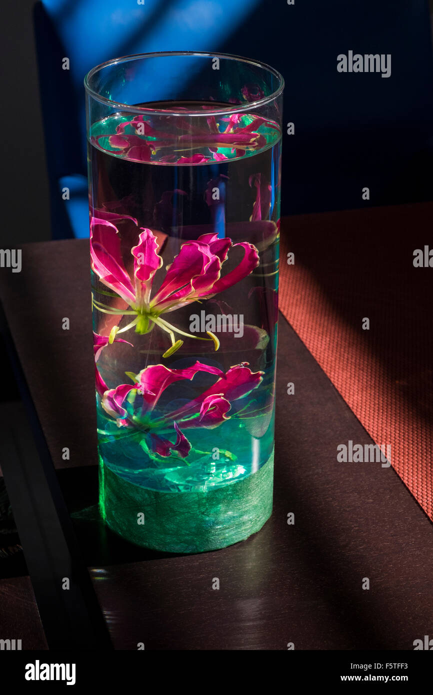 Red flower underwater in a glass vase as a table top
