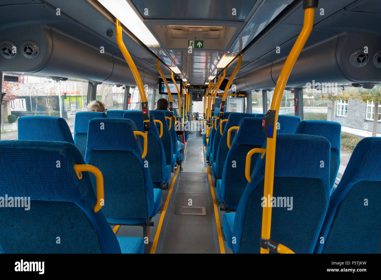 Interior of city bus north of Copenhagen, Denmark. An S-bus, the streets S-trains in Greater Copenhagen. Faster - Stock Image