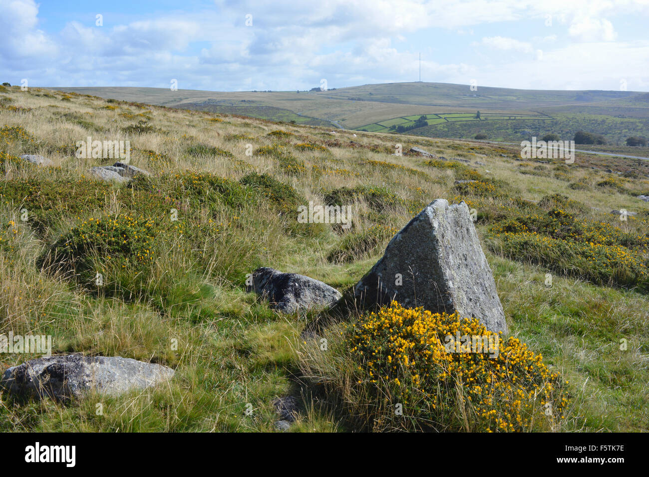 Landscape near the Staple Tors, looking towards Princetown, Dartmoor National Park, Devon, England - Stock Image