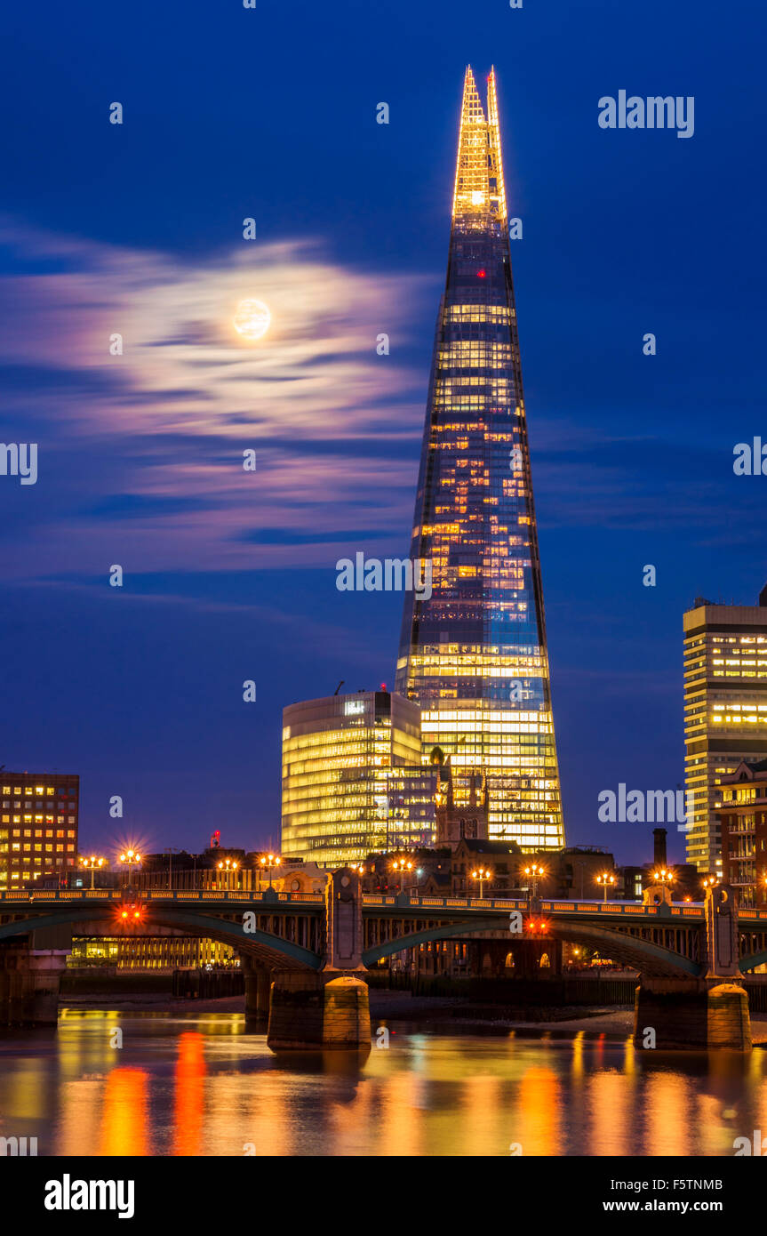 The Shard and skyline at night sunset City of London South Bank  southwark London England UK GB EU Europe - Stock Image