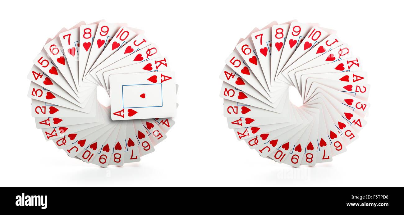 Full decks of cards on white background - Stock Image