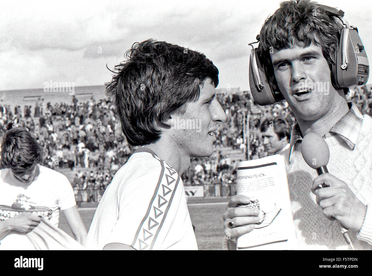 Sebastian Coe being interviewed at the Gateshead Mcewan Games in the 1970's - Stock Image
