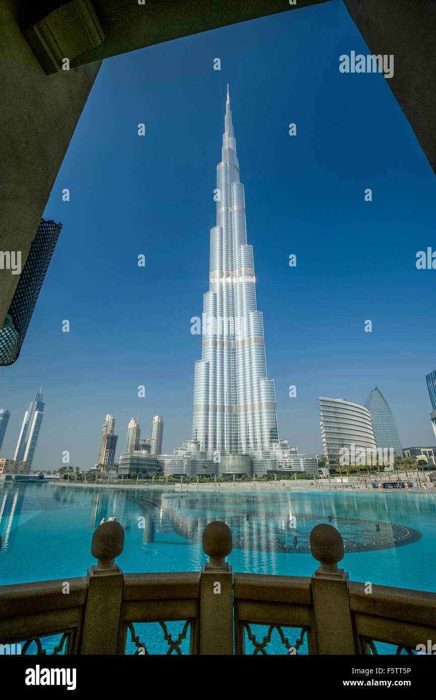 Dubai city landscape, the Burj Al Khalifa Tower - Stock Image