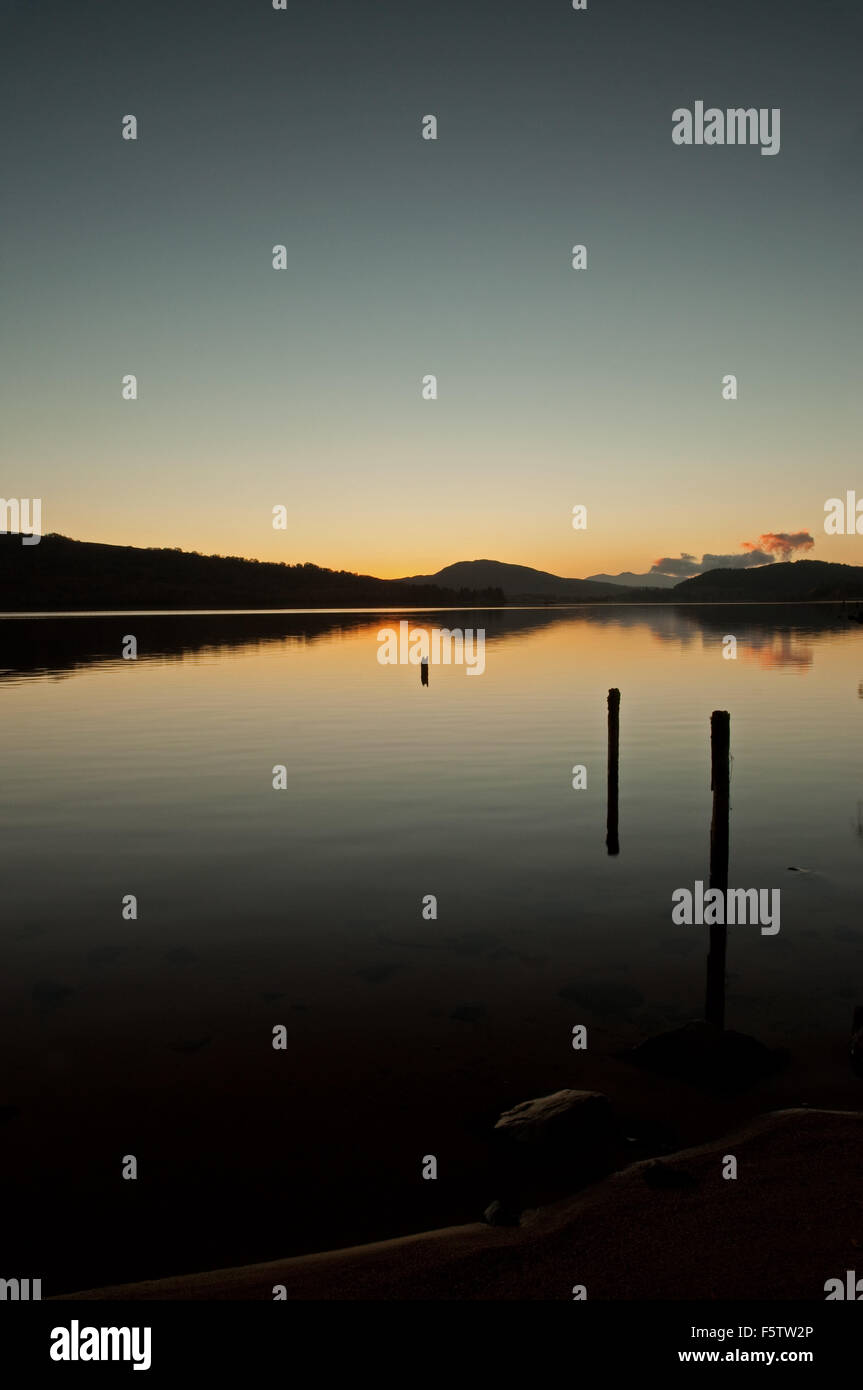 Sunset down Loch Rannoch Stock Photo