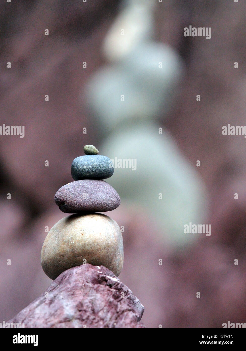 Stone tower on beach - Stock Image