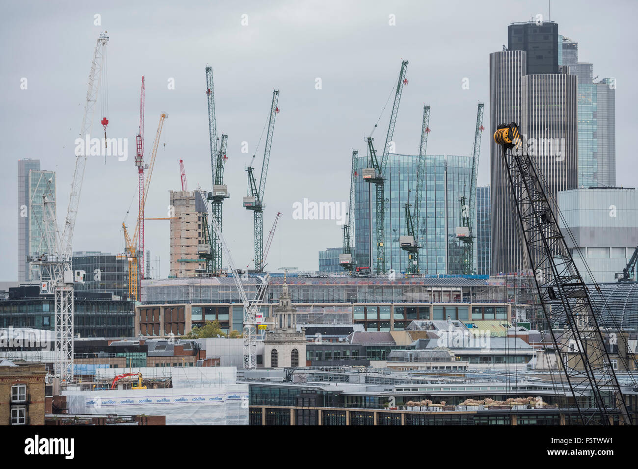 London, UK. 09th Nov, 2015. The City is a forest of cranes, indicating that construction work continues apace around Stock Photo