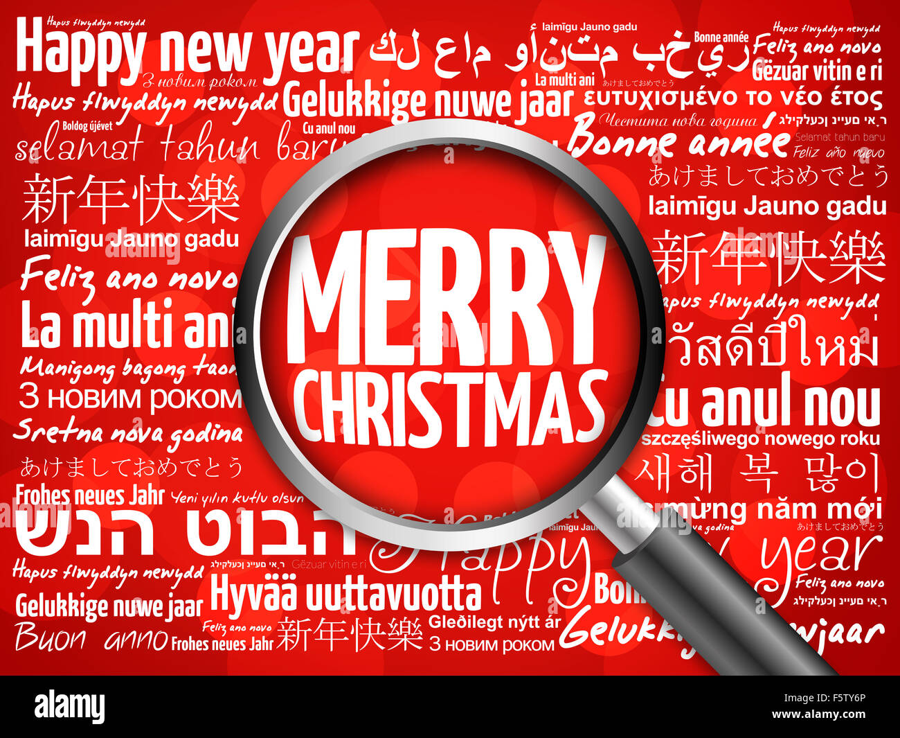 merry christmas happy new year in different languages red background celebration greeting card with magnifying glass