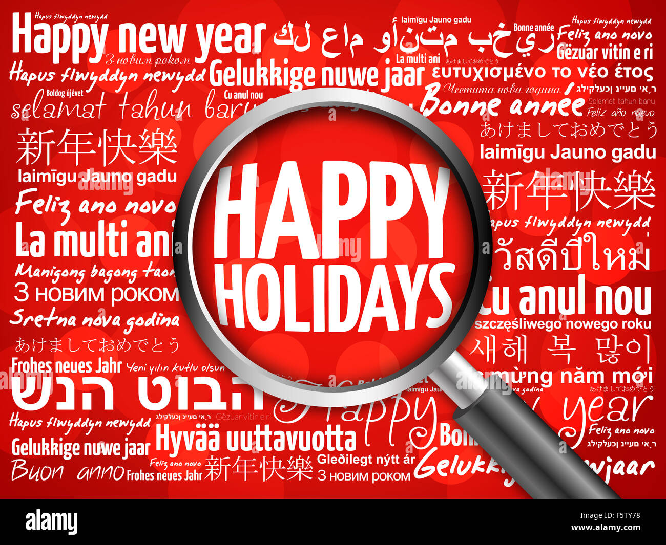 happy holidays happy new year in different languages red background celebration greeting card with magnifying glass