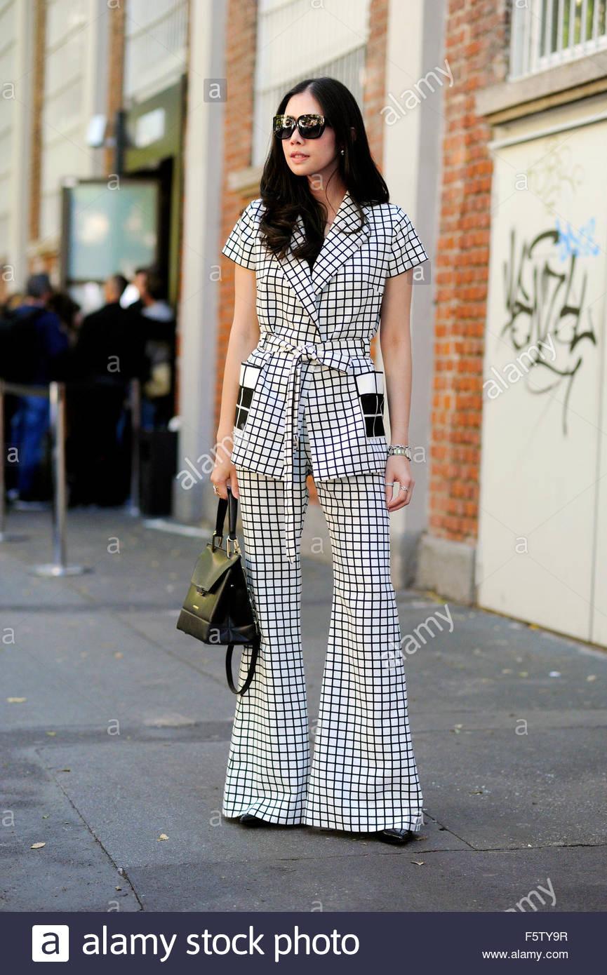 Before Fendi ready to wear SS16 on Via Solari. Milan Fashion Week 2015 - Stock Image