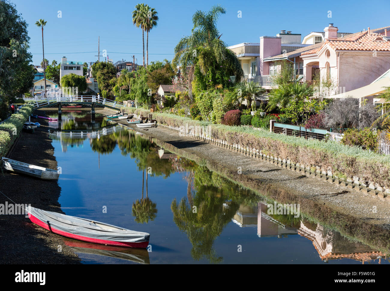 Sherman Canal, one of the famous canals of Venice (Los Angeles) California, USA - Stock Image