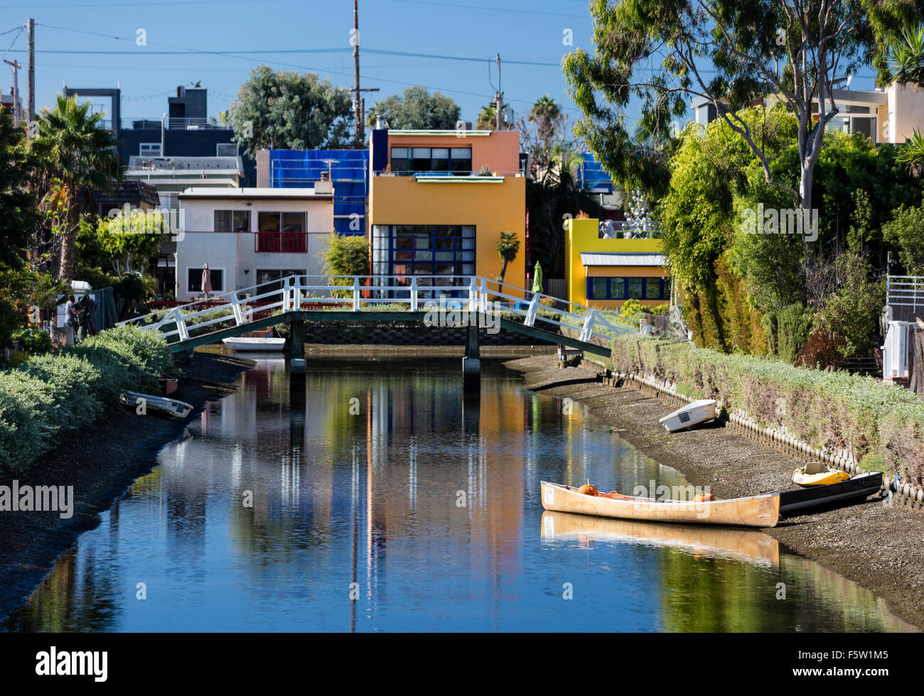 Howland Canal, one of the famous canals of Venice (Los Angeles) California, USA - Stock Image