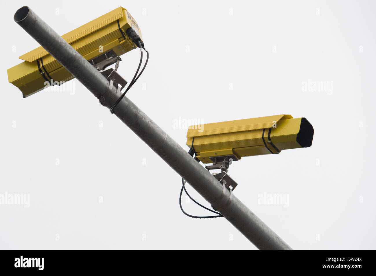 Kluki, Poland. 9th November 2015. Average speed cameras mounted on national road in Kluki, Poland. Credit:  Marcin - Stock Image