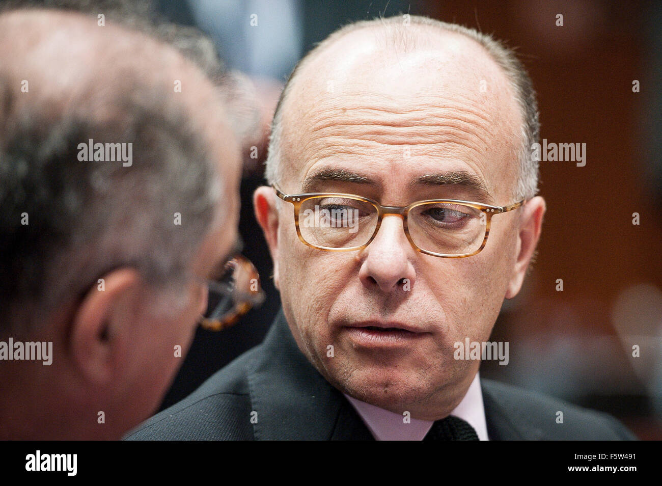 French Interior Minister Bernard Cazeneuve  prior to the  European Union interior and home affairs ministers meeting - Stock Image