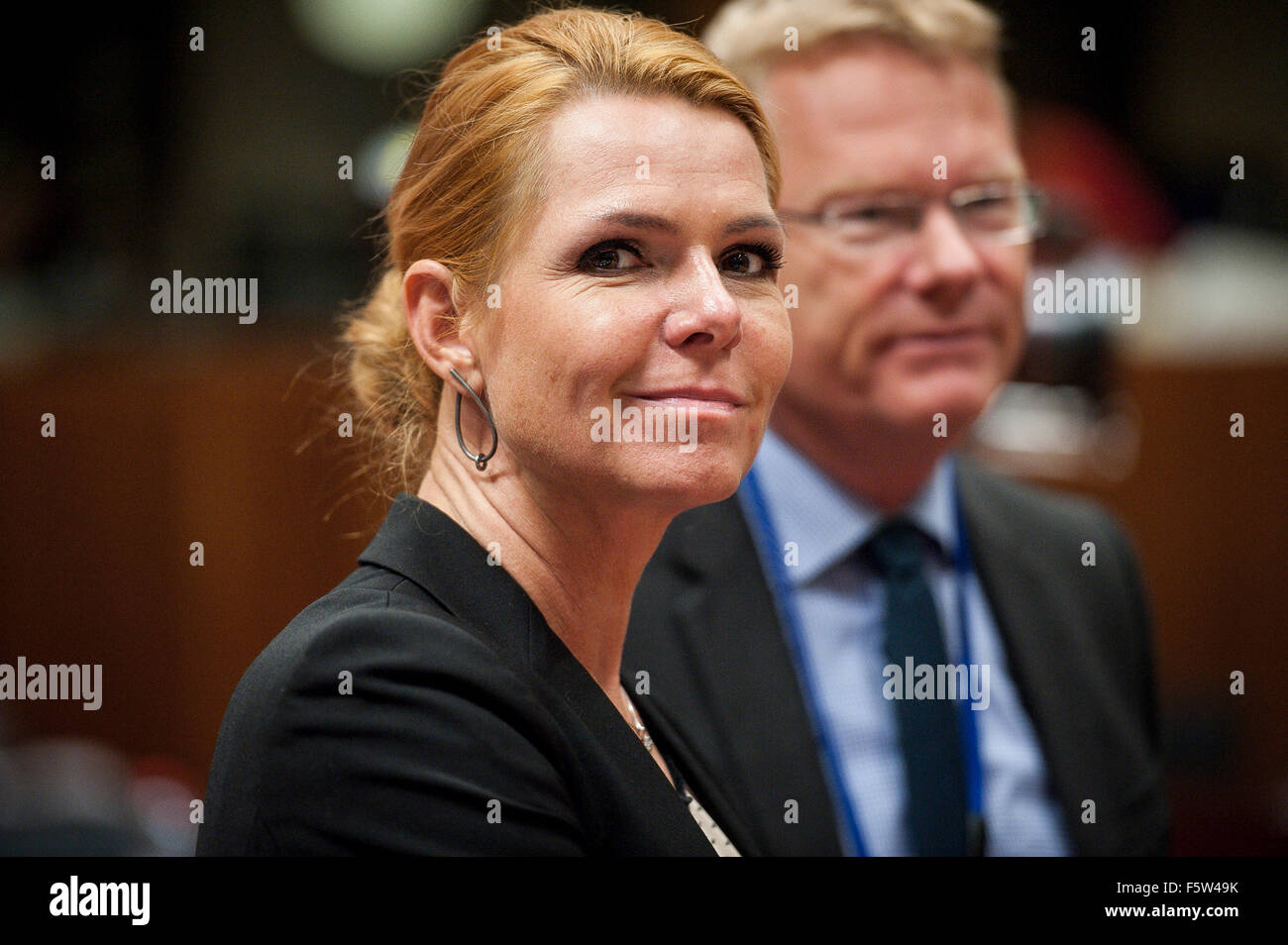 Danish Interior Minister Inger Stojberg    prior to the  European Union interior and home affairs ministers meeting - Stock Image
