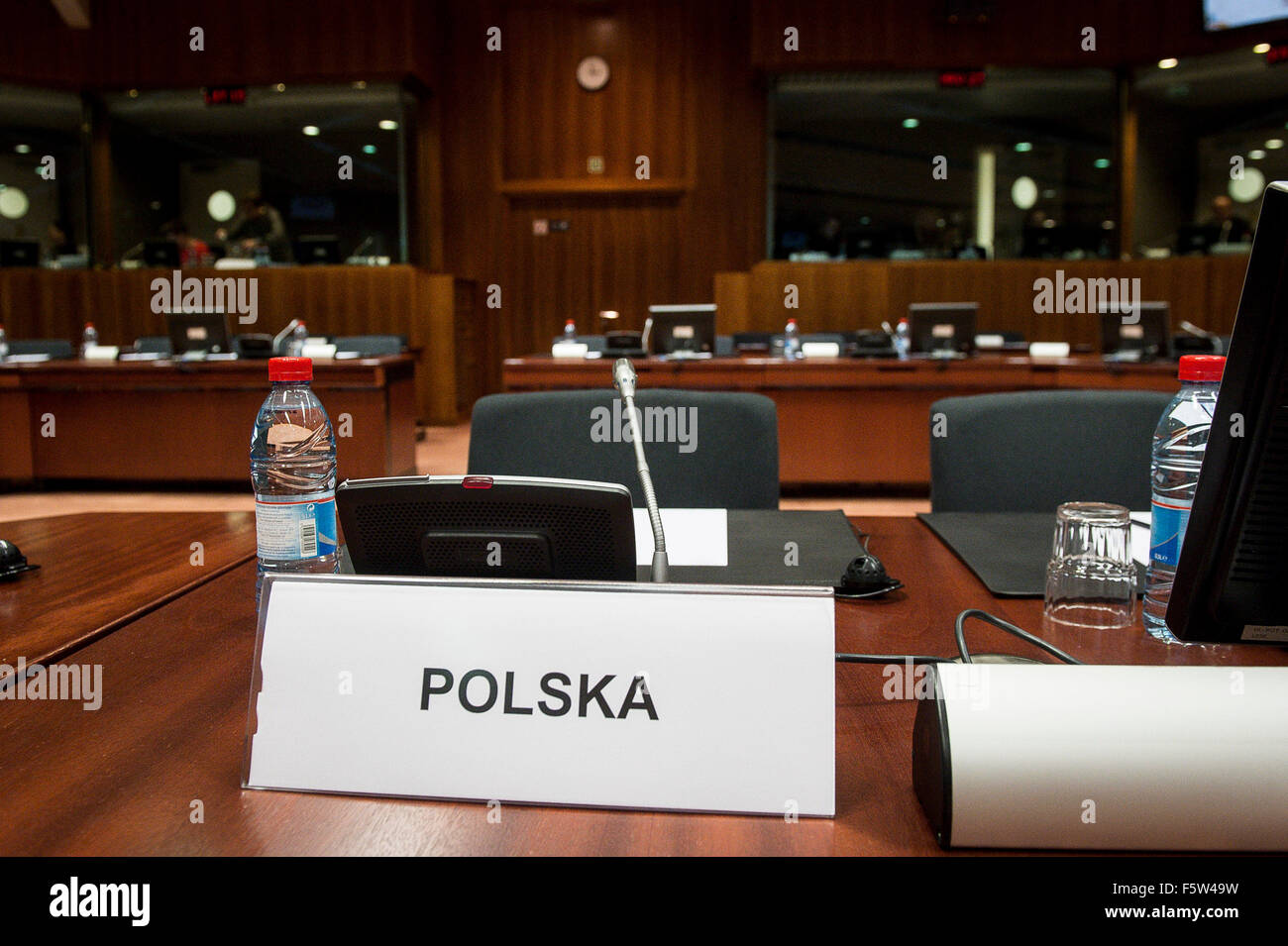 Emily chair of Polish Minister  prior to the  European Union interior and home affairs ministers meeting on the - Stock Image