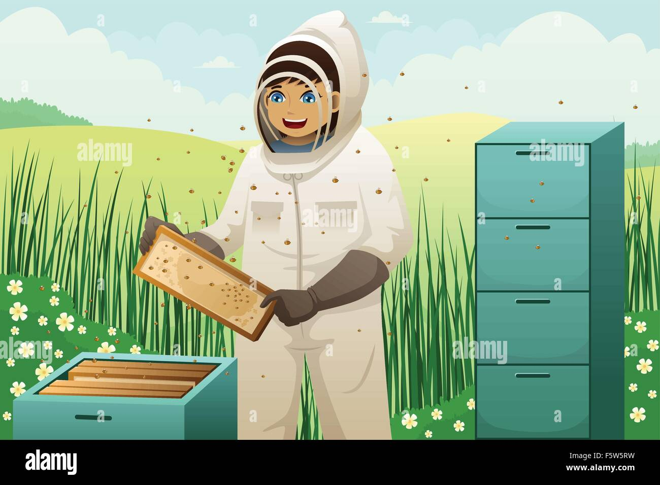 A vector illustration of beekeeper takes honeycomb frame out of beehive - Stock Vector