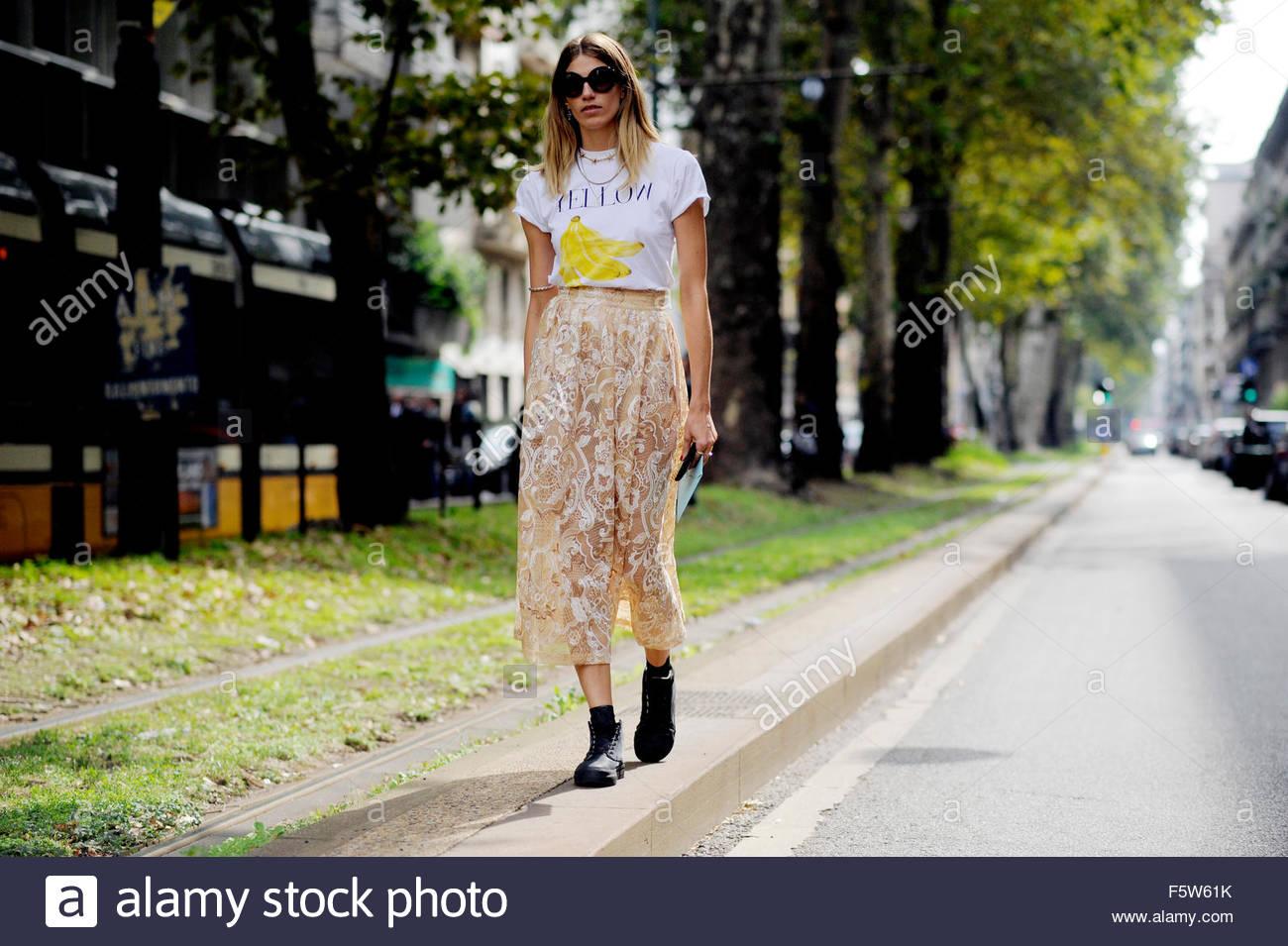 Veronika Heilbrunner On Viale Piave, after Dolce & Gabbana ready to wear Spring Summer 2016. Milan fashion Week - Stock Image