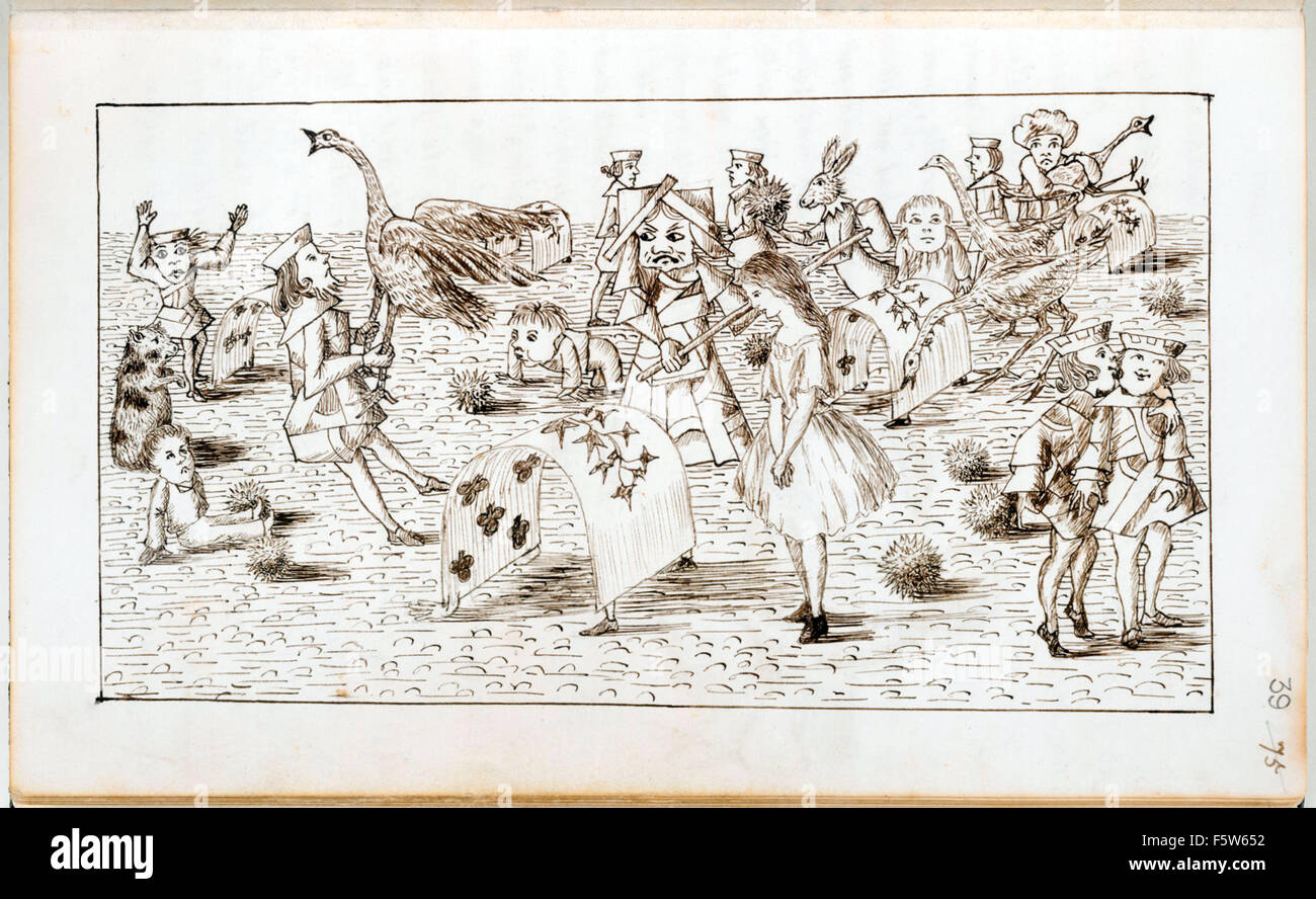 Alice Plays Croquet With The Queen Of Hearts From Original Manuscript Alices