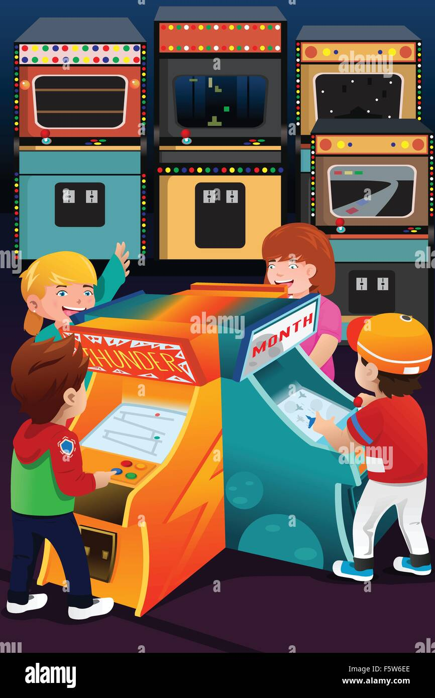 A vector illustration of kids playing arcade games - Stock Vector