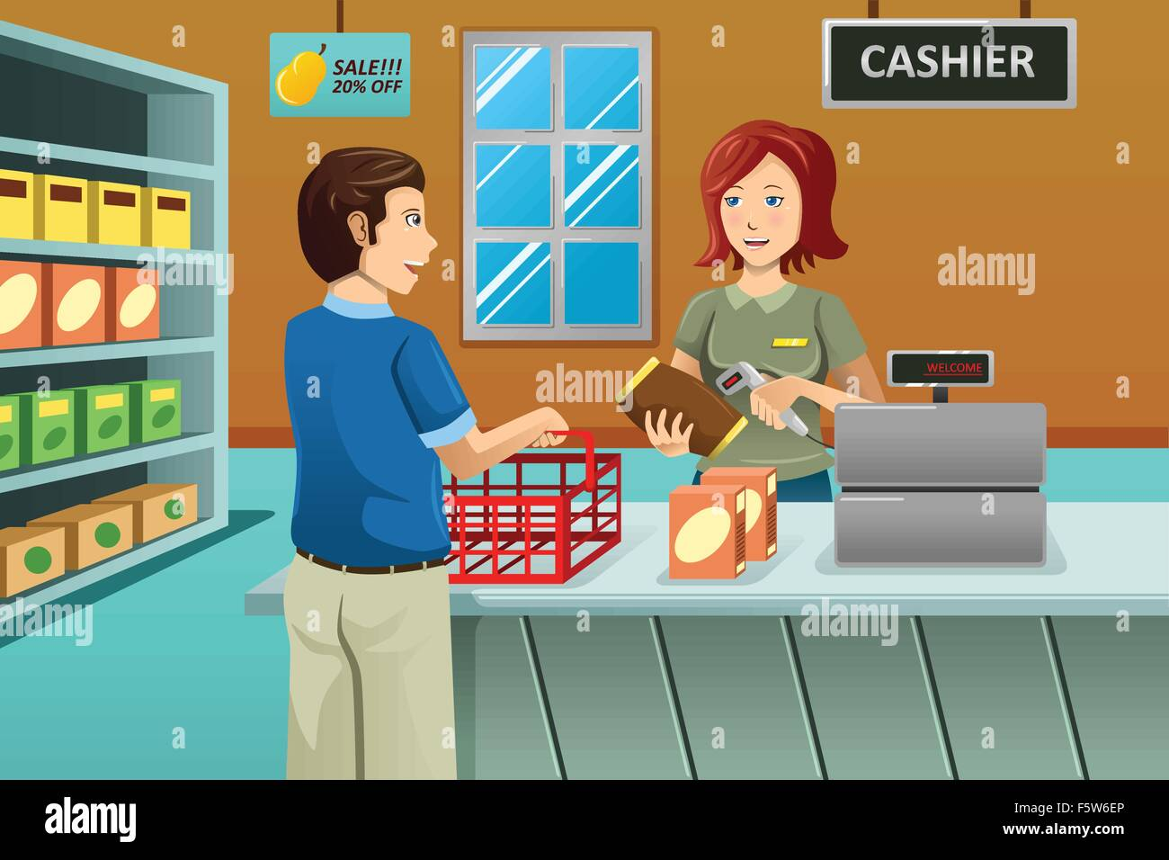 A vector illustration of cashier working in the grocery ...