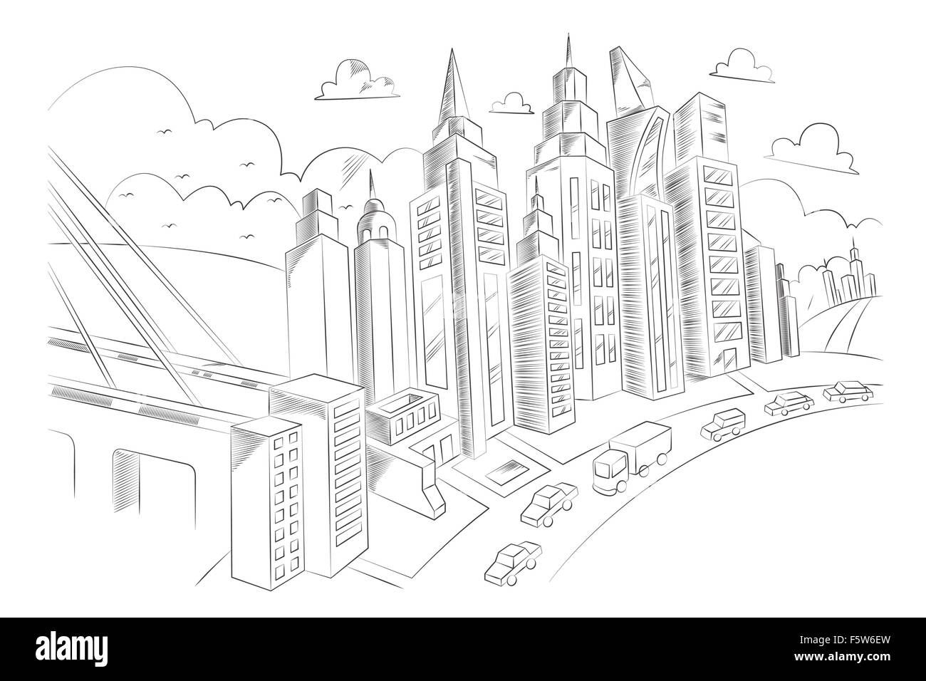 Line Art City : A vector illustration of hand drawing city life stock