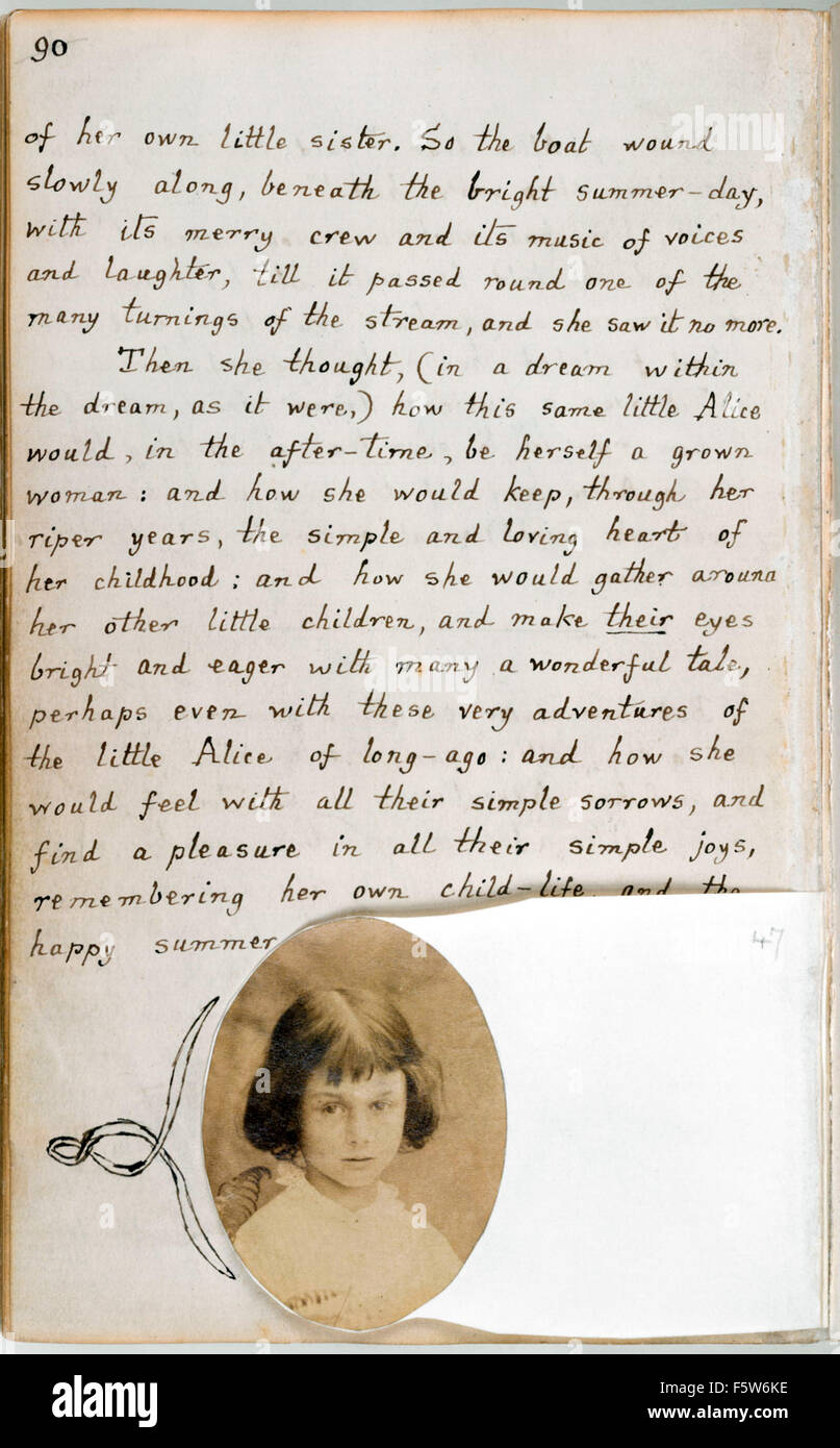 Final page featuring a photograph of Alice Liddell from the original manuscript of 'Alice's Adventures Under - Stock Image
