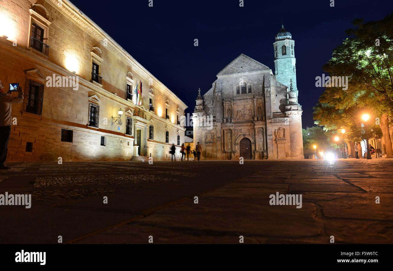 The Parador de Turismo and Sacra Capilla del Salvador in Vazquez de Molina Square Ubeda Andalusia Spain - Stock Image