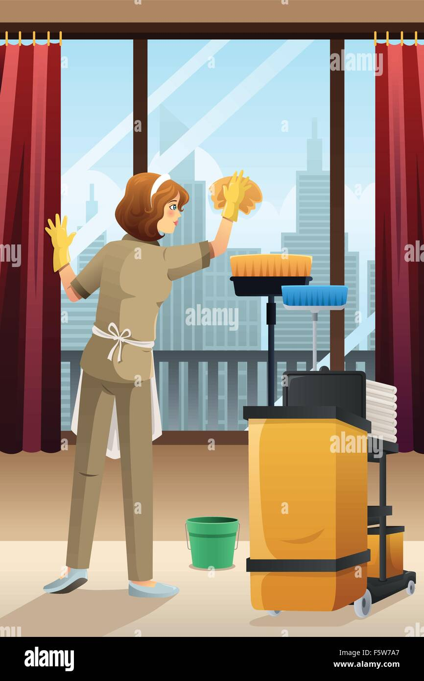A vector illustration of hotel janitor cleaning the window with mop - Stock Vector