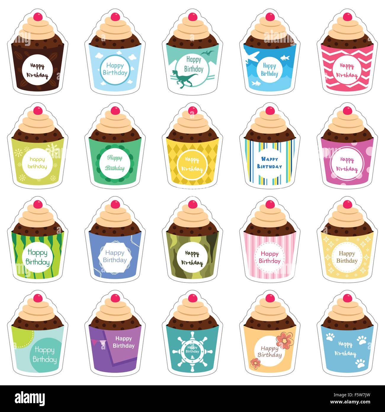 A Vector Illustration Of Birthday Cupcakes Icon Designs Stock