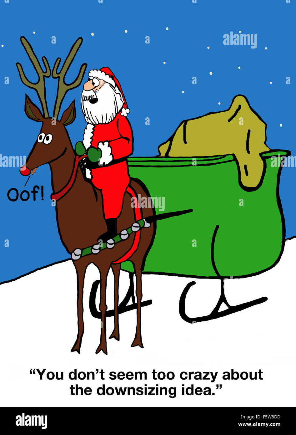 """Christmas cartoon of only one reindeer, not nine, and Santa saying, """"You don't seem too crazy about the downsizing Stock Photo"""