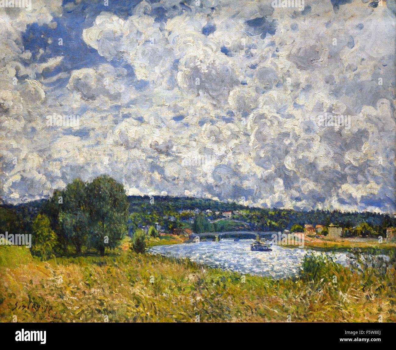 La Seine à Suresnes - The Seine at Suresnes 1877 Alfred Sisley 1839 - 1899 British / French Impressionist France - Stock Image