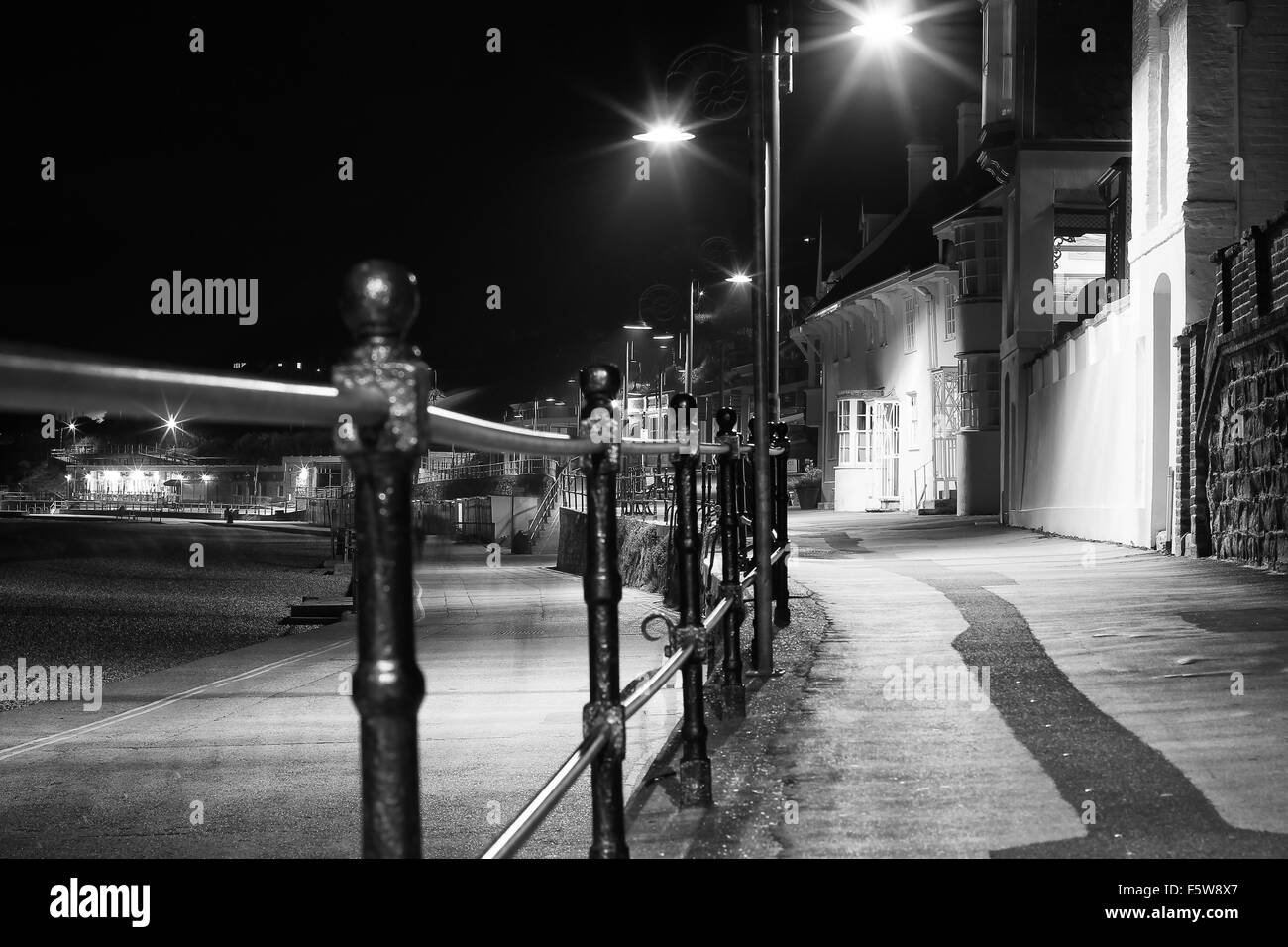 Seafront at night. - Stock Image