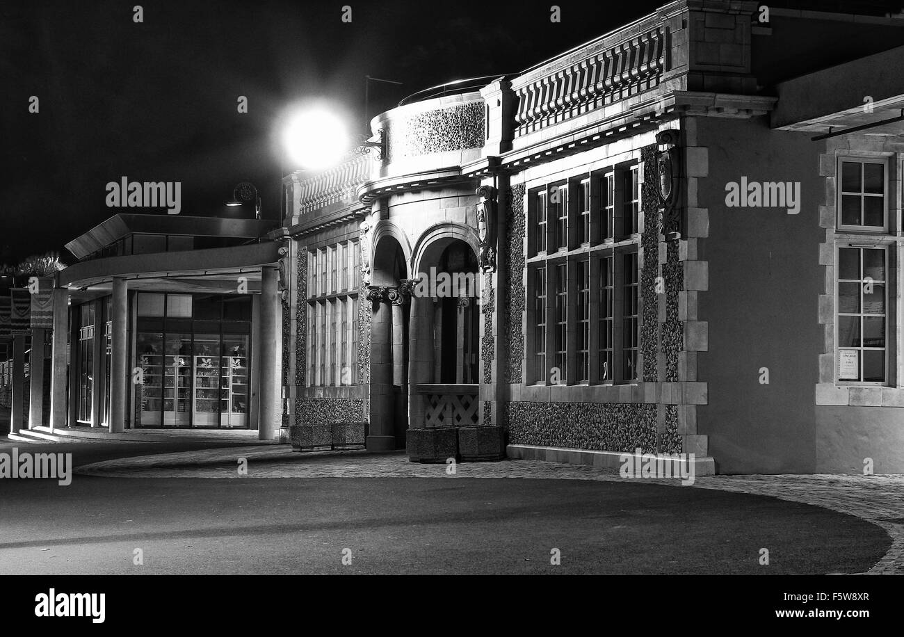 Nighttime classical building with light. - Stock Image