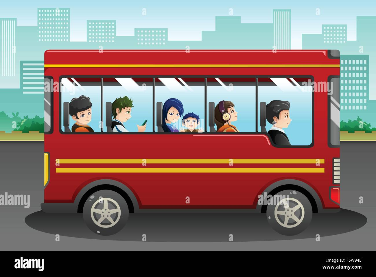 A vector illustration of different people riding a bus - Stock Image