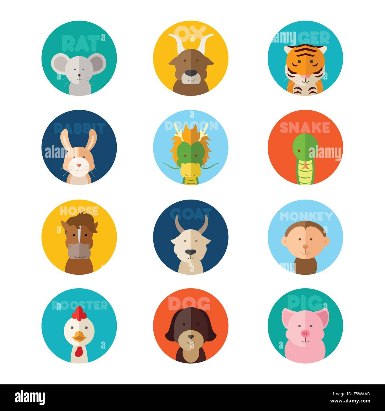 06c36cb56 A vector illustration of Chinese zodiac animal icons Stock Vector ...