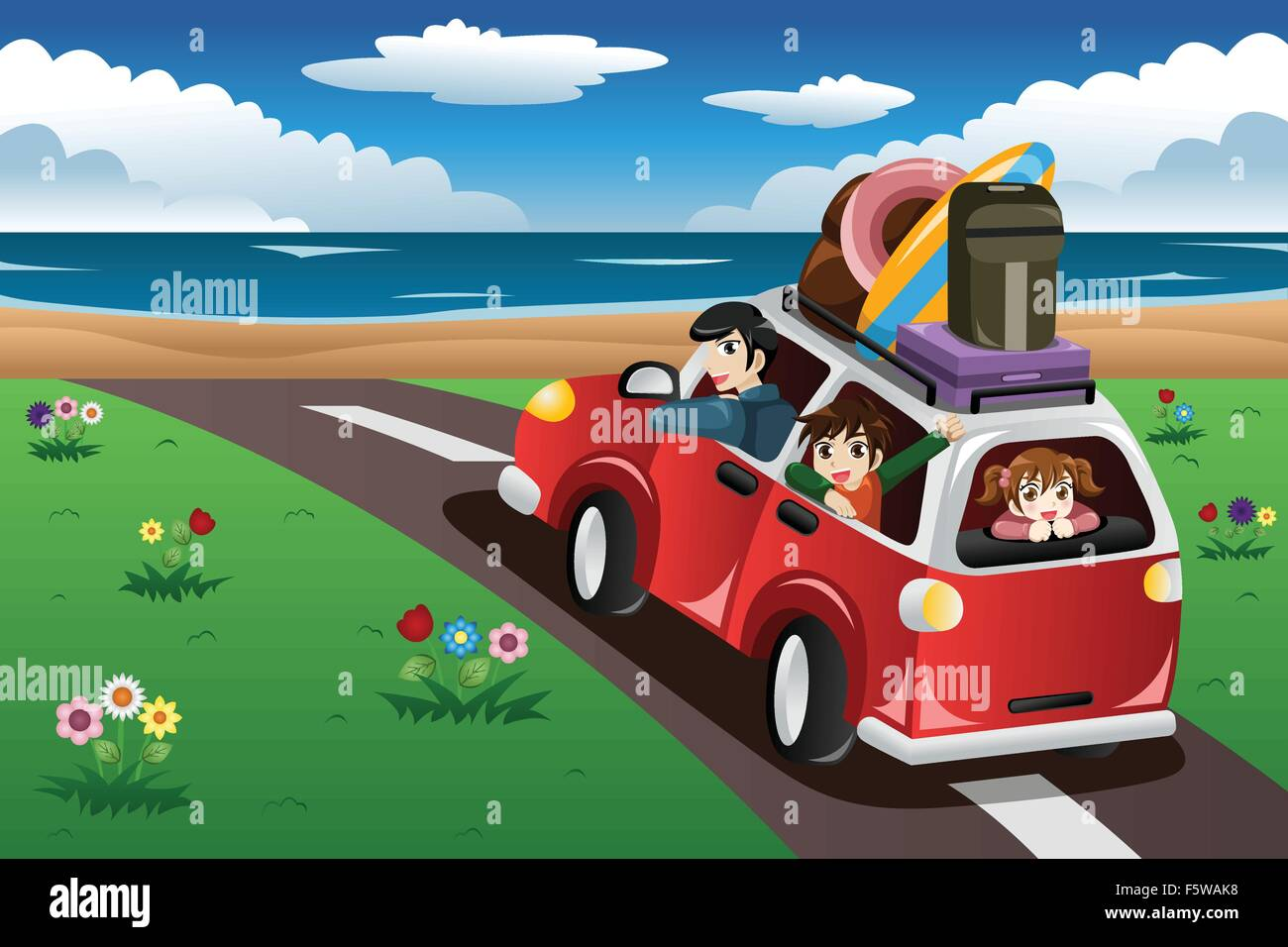 A Vector Illustration Of Happy Family Going On Beach Vacation Together