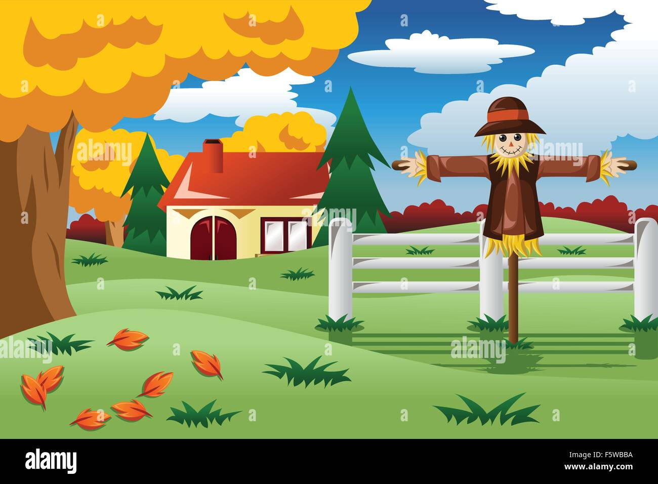 A Vector Illustration Of Scarecrow In The Fall Season Stock Vector Image Art Alamy