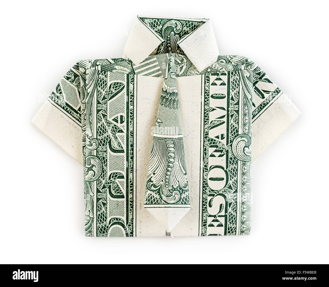 Make you a origami shirt with tie from a one dollar bill by ... | 1133x1300