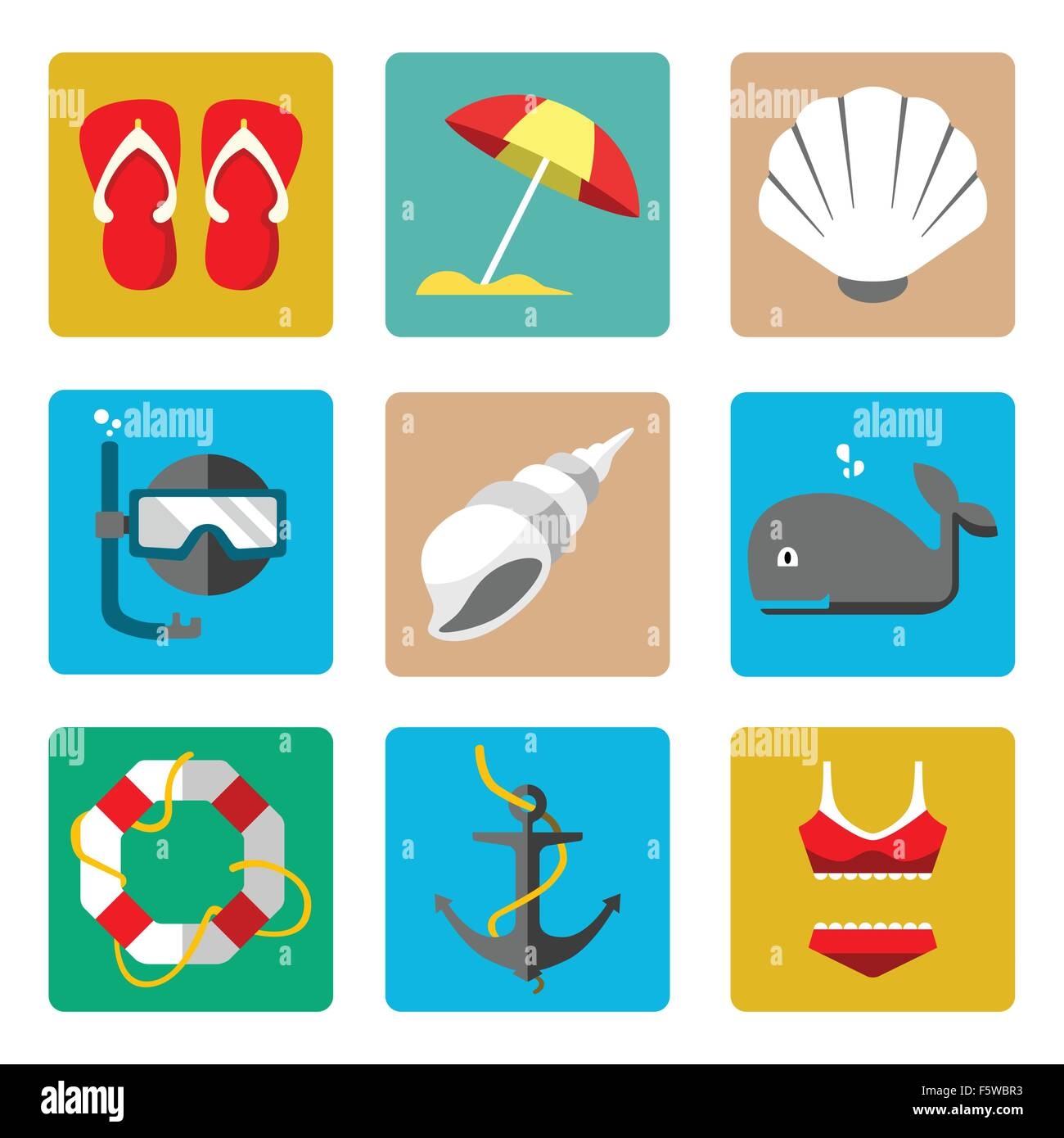 A vector illustration of summer marine icon sets - Stock Vector