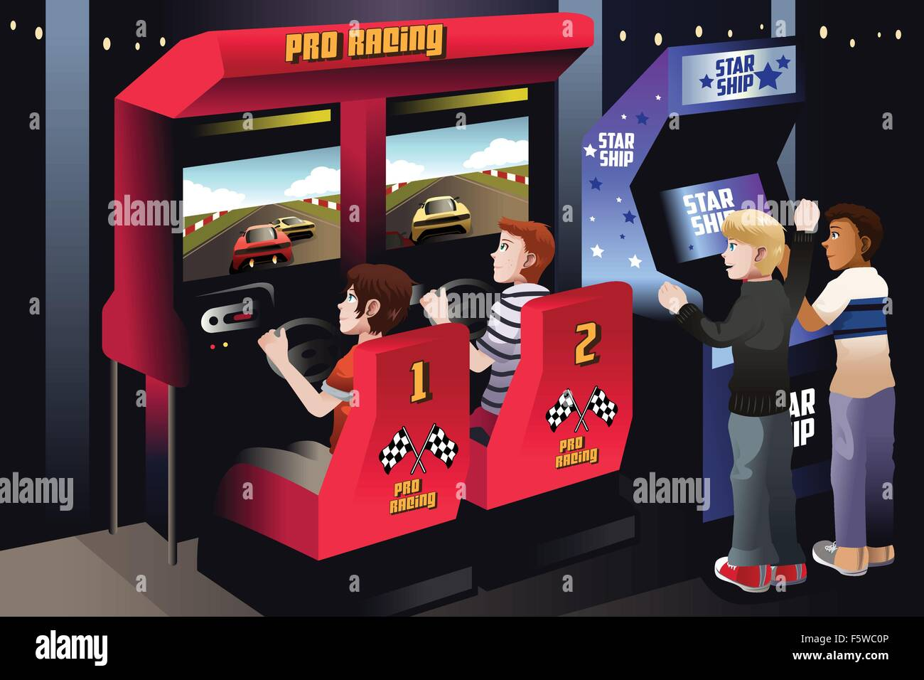 A vector illustration of boys playing car racing in an arcade - Stock Vector